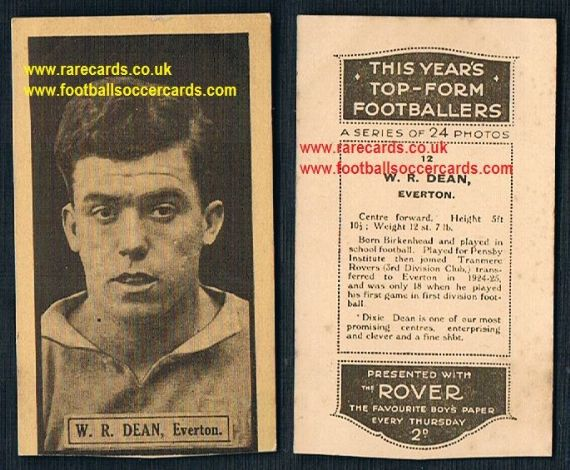 1925 Dixie Dean LOW COST rookie This Year's Top Form Footballers Rover